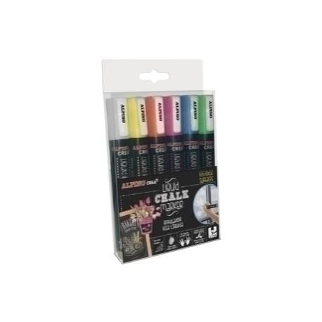 Marcador Tiza Liquida Alpino Liquid Chalk Marker Surtido Estuche De 6
