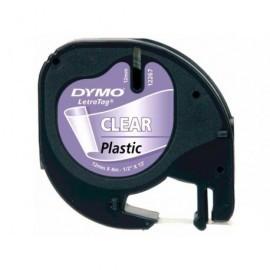 DYMO LetraTag cintas 12267 12 mm x 4 m Negro/Transparente Casetes intercambiables. S0721530