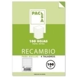Recambio Pacsa A4 100h 100gr 4 Taladros Cuadric.4x4