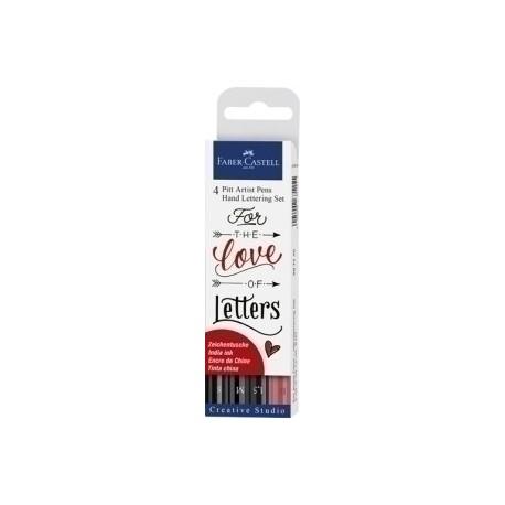 Rotulador Fibra Faber-Castell Pitt Hand Lettering Bolsa De 4