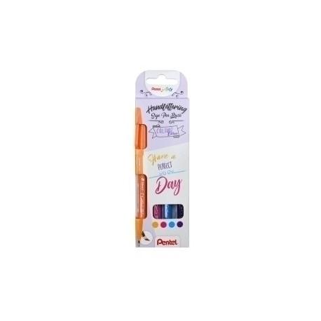 Rotulador Fibra Pentel Touch Colores Fuertes Estuche De 4