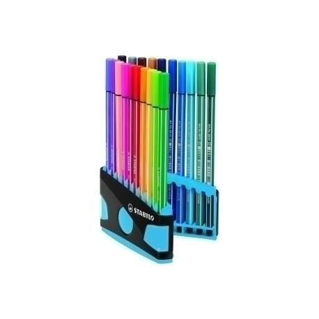 Rotulador Fibra Stabilo Pen 68 Color Parade Antracita/Azul Claro Estuche De 20