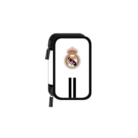 """Safta 2020 Vac (Julio)-Real Madrid """"1ª Equip."""" Plumier Doble Pequeño 28 Piezas"""