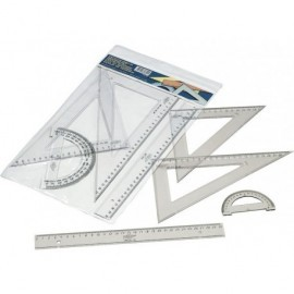 FAIBO Set serie escolar estuche con regla, escuadra y cartabón y semicírculo 30cm 806