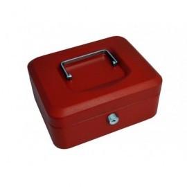 5* Caja de caudales Acero 20x16x9 cm Rojo Cerradura con llave