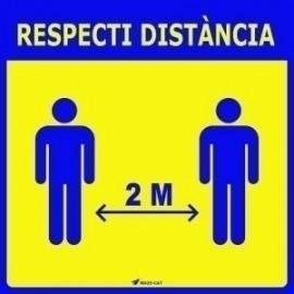"Vinil Laminat Per Paret O Vidre 25x25 Cm. ""Respecti Distancia"""