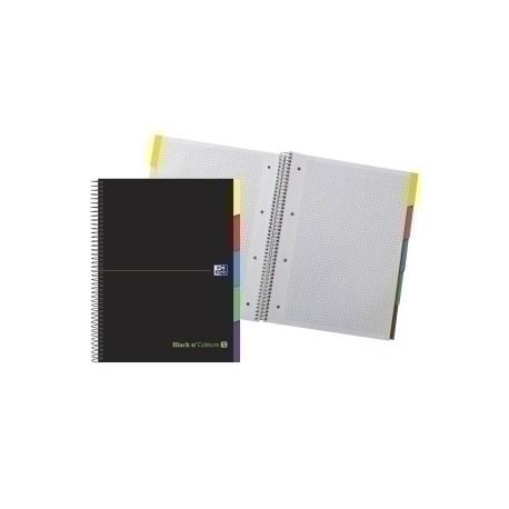 Block Oxford Black N´Colors Eu.Book 5 Separadores Micro.Tapa Extra A4+ 100h Cuadric.5x5 90g Negro/Verde
