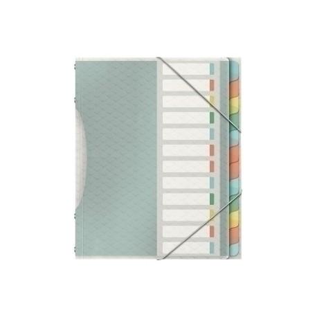"""Carpeta Clasificadora Esselte Colour""""Ice A4 Pp 12 Separad.Con Goma Surtido"""