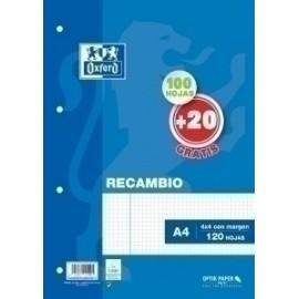 Recambio Oxford School A4 120h (100+20) 90gr 4 Taladros Cuadric.4x4 C/Margen Azul