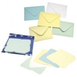 SOBRES NIEFENVER PARA DECORAR 16,4X11,4cm PASTEL PAQ. 25 UD (azul, blanco, crema, amarillo y verde)
