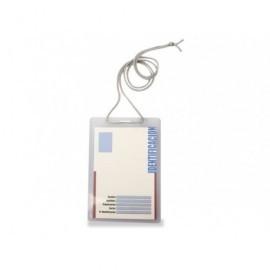 5* FUNDA IDENTIFICACION 93X132 MM.CON CORDON EXTRAGRANDE (90CM) FABRICADO EN PVC. 1077G
