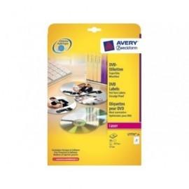 AVERY CAJA 25 HOJAS ETIQUETAS DVD - LASER - DIAMETRO 117MM BLANCAS L7776-25