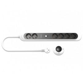 EDNET Regleta de alimentación con 6 tomas de corriente y con control inalámbrico negro/blanco 84277