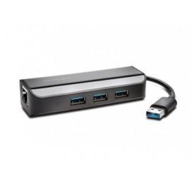 KENSINGTON Adaptador Red+Hub USB 3.0 de 3 puertos UH3000E K33982WW