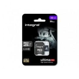 INTEGRAL Tarjeta de memoria micro SDHC UltimaPro de 32 GB con adaptador SD clase 10 INMSDH32G10-90U1