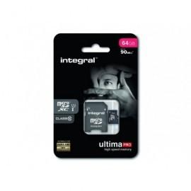 INTEGRAL Tarjeta de memoria micro SDHC UltimaPro de 16 GB con adaptador SD clase 10 INMSDH16G10-90U1