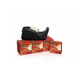 SCOTCH Pack 10 rollos cinta supertransparente 19mm.x33m.con dispensador C60 color negro 70005258366
