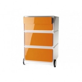 PAPERFLOW CAJONERA MOVIL EASYBOX 4 CAJONES FRONTALES ABS BRILLANTE NARANJA 64,2X39X43,6 CM.EBGHPH.05