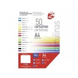 5* Cartulina Paquete 50 hojas A4 Amarillo 180 g. 134534