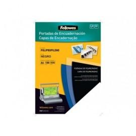 FELLOWES PACK DE 100 PORTADAS PP NEGRO A4 450 MICRAS 54772