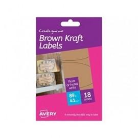 AVERY  Caja 48 etiquetas efecto cartón ovaladas 41x89mm. HBK03