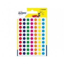 AVERY Sobre 420 etiquetas redondas colores surtidos. 8mm. PSA09MX