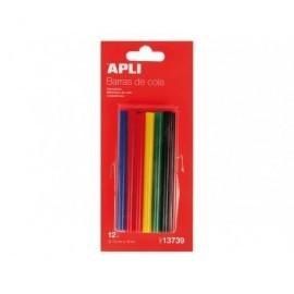 APLI Recambio 12 barras de cola 7,5 mm Colores surtidos 13739