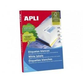 APLI Etiquetas ILC Caja 100 hojas 100 u 210 x 297 (A4) Blancas 1281