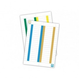 ELBA Paquete 10 hojas x 25 etiquetas cristal/kio 8,2x1,3 blancas borde color 400022782