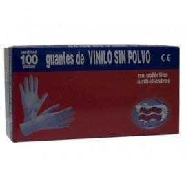 Caja 100 Guantes vinilo desechable,color blanco,talla G,sin polvo 500504