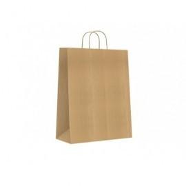 Bolsa de papel asa retorcida kraft verjurado natural l apsdo 42+14x36cm 90gr 02103070