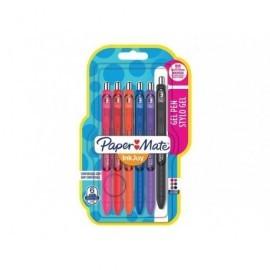 PAPER MATE Blister 6 bolígrafos Inkjoy gel fun (negro, azul, rojo, naranja, rosa, morado) 1985486