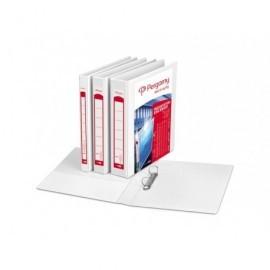 PERGAMY Carpeta personalizable formato A4 2 anillas de 25mm color blanco 3 bolsillos