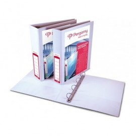 PERGAMY Carpeta personalizable formato A4 4 anillas de 25mm color blanco 2 bolsillos