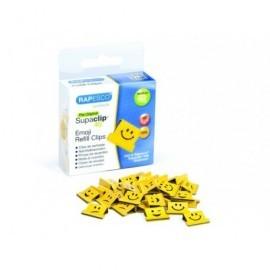 RAPESCO Caja de 100 supaclips 40 de recarga con emojis en color amarillo. 1335