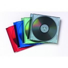 FELLOWES Pack de 25 cajas CD/DVD Slim plástico transparente colores surtidos 98317