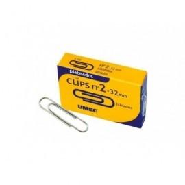 UMEC Clips labiados Caja 100 Ud 32mm Niquelado U200700