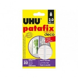 UHU PATAFIX DECO 32 PIEZAS RESISTENTES REPOSICIONABLES REUTILIZABLES FIJACIÓN HASTA 2 KG 41211