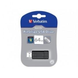 VERBATIM Memoria USB 2.0 Store 'n' Go PinStripe 64 GB negro 49065