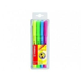 STABILO Marcador fluorescente Estuche 4 ud Trazo 1-4mm P.biselada Tinta base agua Colores surt.555-4
