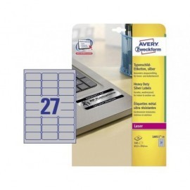 AVERY Etiquetas laser poliester Caja 20 hojas 63,5x29,6 Plata L6011-20