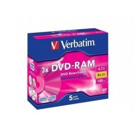 VERBATIM DVD-RAM Pack caja 5 ud 3x 4,7GB 120min regrabables 43450