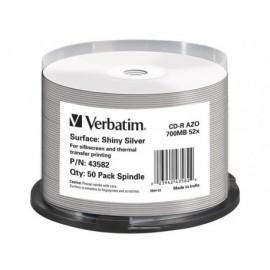 VERBATIM CD-R AZO Shiny Silver bobina pack 50 ud 52x 700MB imprimible 43582