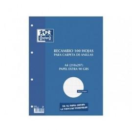 OXFORD Recambio de papel 100+20 hojasA4 Cuadricula 4x4 400058179