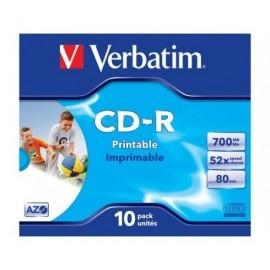 VERBATIM CD-R  Super AZO Crystal pack caja 10 ud imprimible 52x 700MB 80min 43325