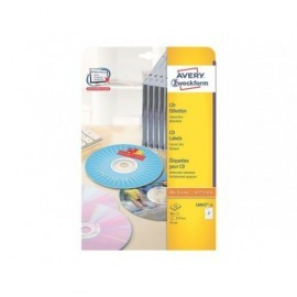 AVERY Etiquetas Multimedia para CD/DVD Caja 50 hojas 117 mm Inkjet/laser color foto L6043-25