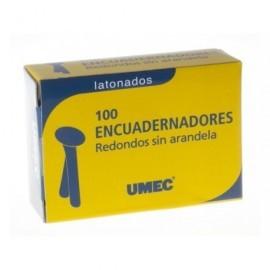 UMEC Encuadernador sin Arandela Caja 100 Ud 12mm Redondo y latonado U301501
