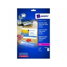 AVERY Tarjeta visita  caja 250 ud 85x54mm laser Acabado imprenta bordes lisos C32016-25