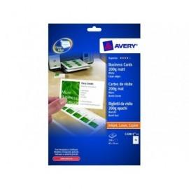 AVERY Tarjeta visita  caja 100 ud 85x54mm Inkjet/laser/copia Acabado imprenta bordes lisos C32011-10