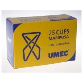 UMEC Clips Mariposa Nº20 Caja 25 Ud 60 mm Plateado U201300